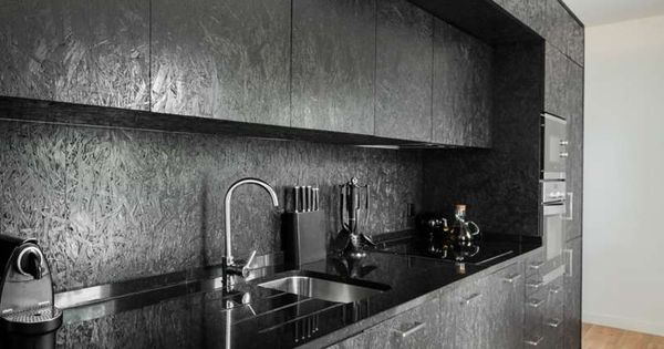 schwarze osb platten f r eine k che interior inspiration pinterest osb board and board. Black Bedroom Furniture Sets. Home Design Ideas