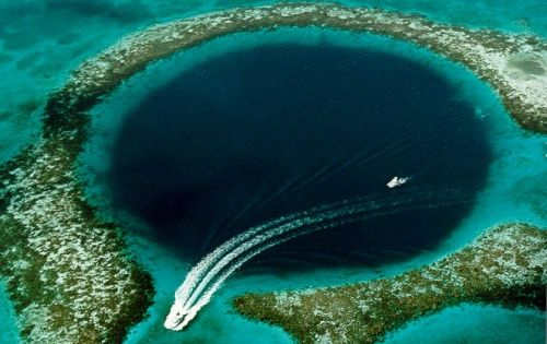 Great Blue Hole, Belize. Jacques Cousteau visited this site in 1971 and