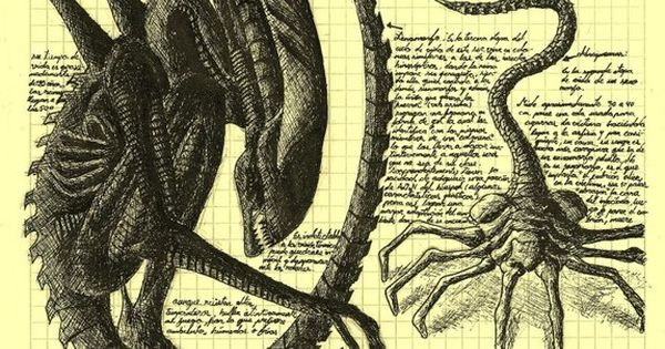 Alien life cycle - Da Vinci style Art by Elkin Salamanca aliens