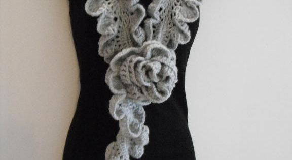 How To Crochet Ruffle Rose Scarf Free Pattern Tutorial For Beginners : how to Crochet ruffle rose scarf free pattern tutorial for ...