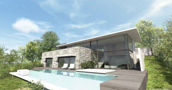Maison contemporaine avec s jour cath dral et habillages for Villa contemporaine interieur