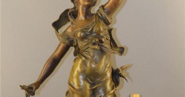 Antique French L F Moreau Figural Bronzed Spelter Statue Sculpture Lamp W Shade Ebay Design