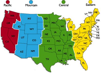 USA Time Zone Map I just read