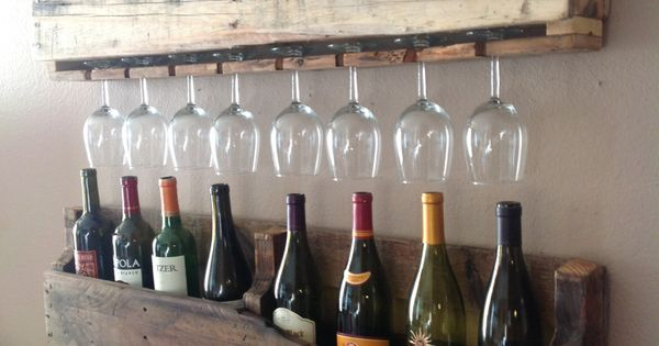 repurpose old pallets into wine bottle / wine glass rack - shelving