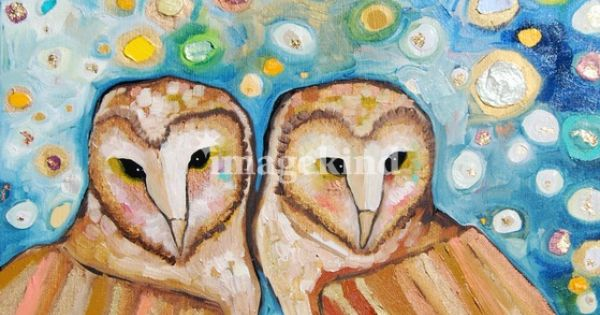 'Two Barn Owls in Fireflies' by Eli Halpin