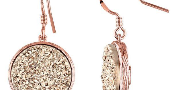 Golden Drusy Sterling Silver Floral Earrings