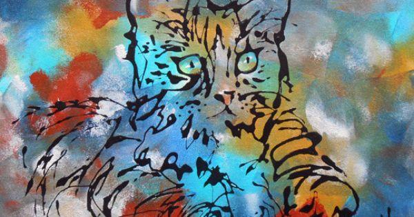 tableau le petit chat tigr peinture acrylique peintures axelle bosler chat tigr petit. Black Bedroom Furniture Sets. Home Design Ideas