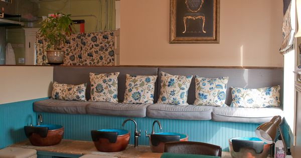 blue salon spa the bench area is a good idea for the lobby