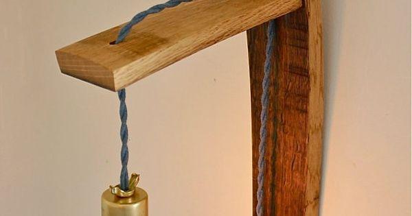 salvaged oak wine barrel wall sconce // rustic modern industrial lighting //
