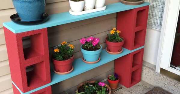 Cinder block plant shelf my pinterest creations for Cinder block plant shelf