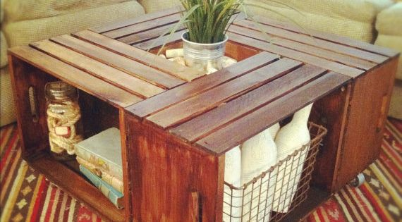 "Great storage, very functional! ""Purchase some wood crates (these are from Michael's),"