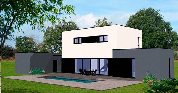Plan maison contemporaine piscine ext rieure moderne for Piscine franconville