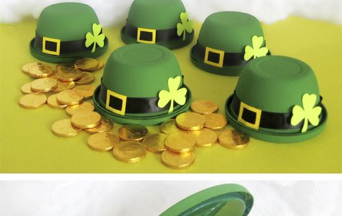 St. Pattys Day - Leprechaun hats made from Gladware. Fill up with