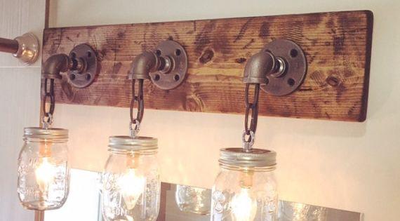 Rustic mason jar light fixture, 3 mason jars light, industrial lights, modern light, vanity ...