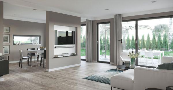 Interior Wohnzimmer grau weiß mit Raumteiler zum Esszimmer - wohnzimmer mit offener küche gestalten