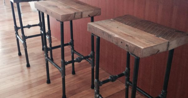 Stools I Made With Pipe And Reclaimed Wood Office Space