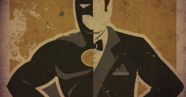 Minimalist superhero posters bisect Batman into his alter ego Bruce Wayne, by