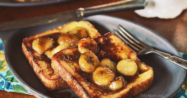 Decadent french toast with home made caramel sauce and bananas, an easy