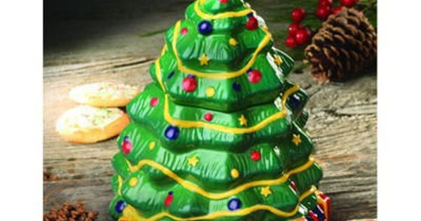New In Box Christmas Tree Cookie Jar Lindsey Jordan Designs The Decorated Holiday Tree Is A Hand Pa Christmas Tree Cookies Hand Painted Cookies Tree Cookies