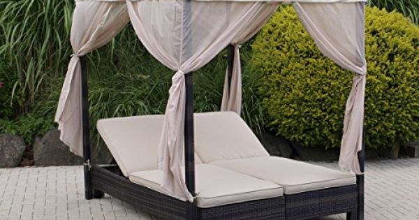doppelliege mit baldachin antibes alu polyrattan mocca. Black Bedroom Furniture Sets. Home Design Ideas