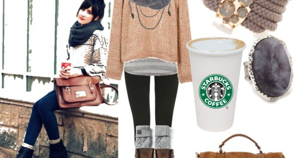 Cute Comfy Fall Outfit... I Like how a starbucks cup is included.