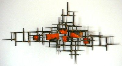 Vintage Metal Wall Art Sculpture Mid Century Modern Nails Orange Enamel Abstract Mid Century Wall Art Mid Century Modern Wall Decor Mid Century Modern Art