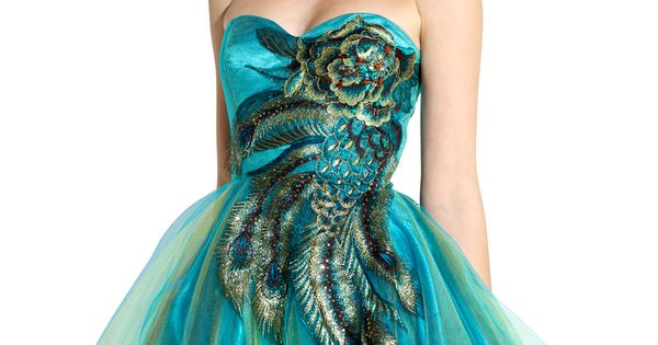 Metallic Peacock Embroidered Peacock Dress