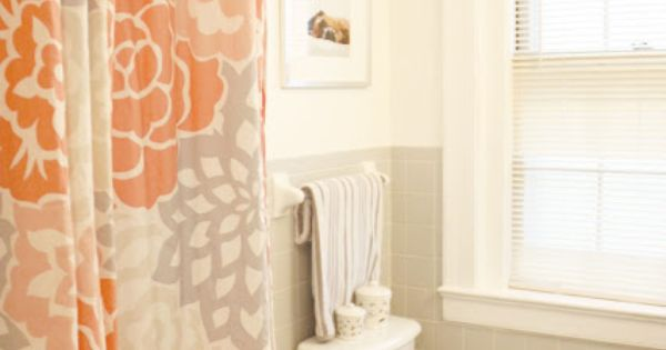 Orange And Grey Shower Curtain With Chevron Towel I Have