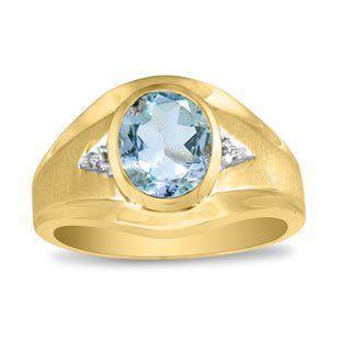 Men S Oval Aquamarine Diamond Dual Finish Yellow Gold Ring