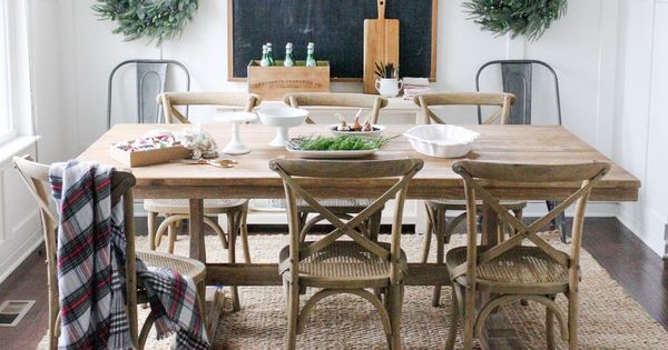 Jute Rug From Rugs Usa Dining Table From World Market Chairs From Restoration Hardware