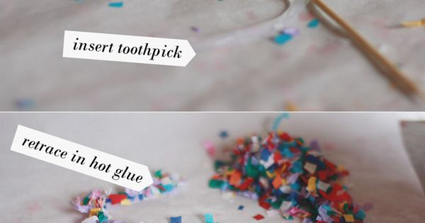 DIY Confetti Cake Toppers :: Materials: •Parchment paper (NOT WAX PAPER) •Confetti