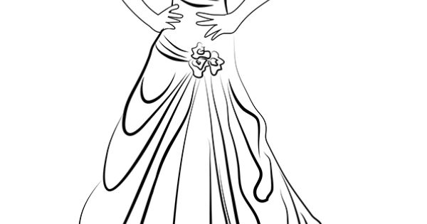 Dessin colorier d 39 une robe de mari e chic avec une for Dessin minimaliste