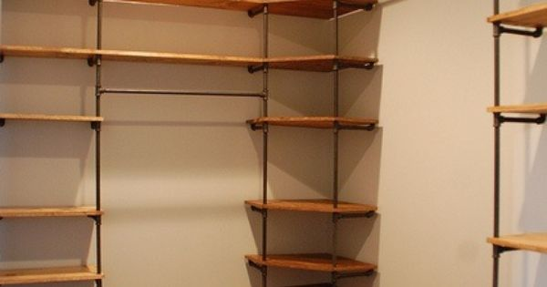 Industrial and rustic and way better looking than those for Bedroom shelves inspiration