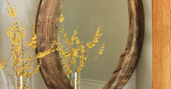 DIY weathered wood Wine Barrel Mirror