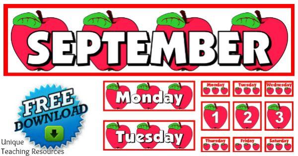 Calendar Bulletin Board Ideas Middle School : Free printable september classroom calendar for school