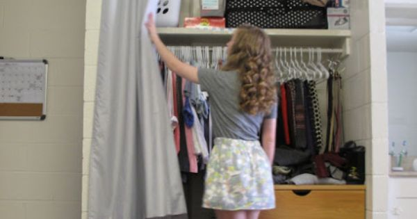 Closet Curtains For Your Dorm Use A Tension Rod Or