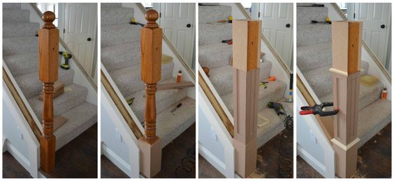 Converting A Colonial Style Newel Post Into A Craftsman Style Staircase Remodel Stair Remodel Staircase Makeover