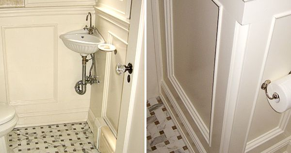 Small Powder Room With Corner Sink And Vintage Style Tile