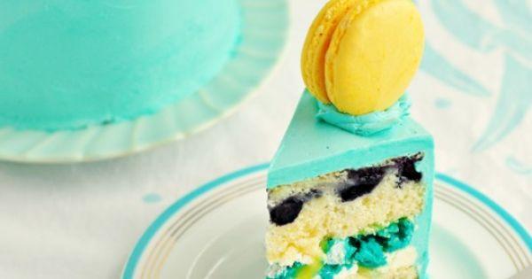 Lemon Blueberry Macaron Delight Cake recipe---I love the color combination!!