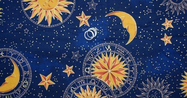 Boneful fabric fq cotton quilt navy blue gold vtg for Sun and moon fleece fabric