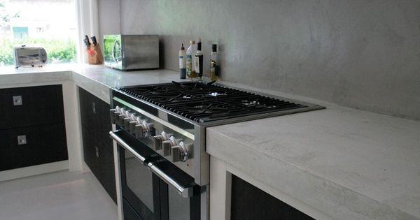 Betonlook betonlook interieur pinterest keuken inspiratie muur en muur - Idee outs semi open keuken ...