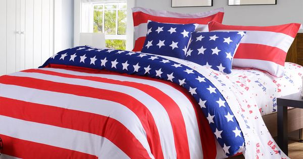 American Flag Usa Bedding Full Queen 4 Pc Duvet Comforter