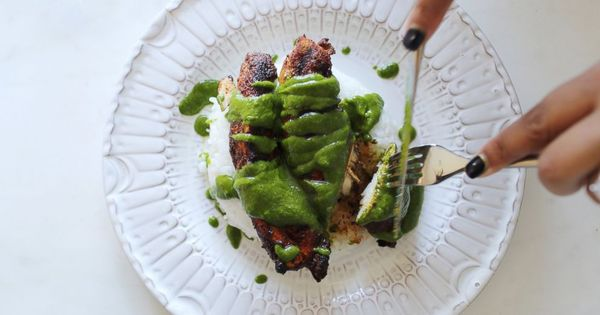 grilled spiced chicken and asparagus with parsley mint sauce recipe by ayesha curry recipe. Black Bedroom Furniture Sets. Home Design Ideas