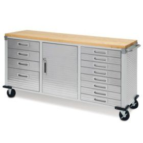Seville Classics Ultrahd 2 Door Rolling Cabinet Rolling Workbench Wood Storage Cabinets Workbench With Drawers