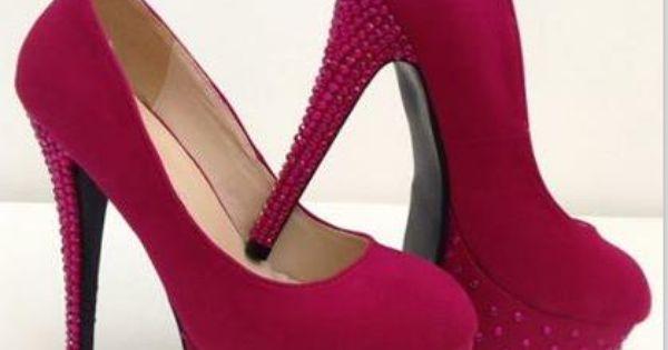 #Splendid Rhinestone Solid Color Suede #Platform #Heels