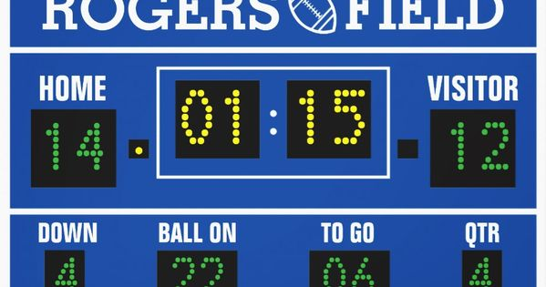 Customized football scoreboard wrapped canvas kids for Baseball scoreboard wall mural