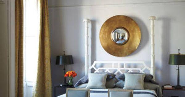 The master bedroom features a van der straeten mirror a for John derian dry goods