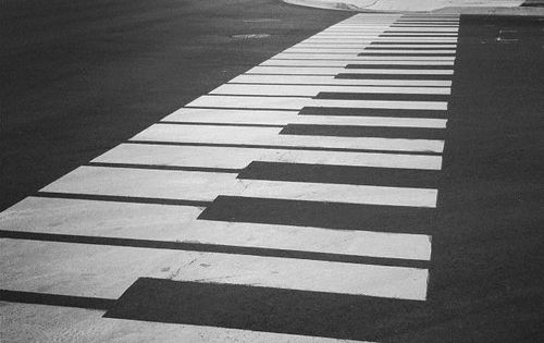 Piano keys street art in black and white.... Very Cool !