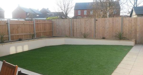 Cream rendered wall artificial grass garden pinterest for Rendered garden wall designs