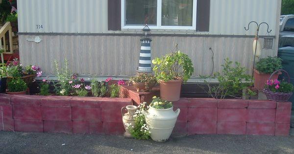 Cinder block painted border garden projects pinterest - Painting cinder blocks for garden ...